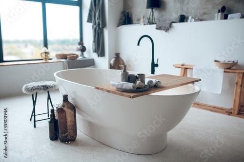 Tableau sur Toile Modern nice bathroom with a big bathtube