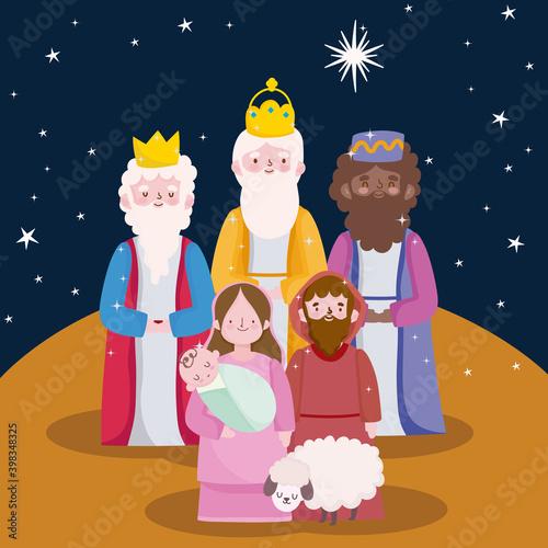 happy epiphany, three wise kings joseph baby jesus and sheep cartoon Fototapet
