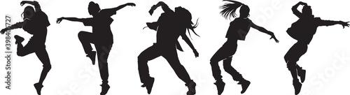 Canvas-taulu set of female urban dancers