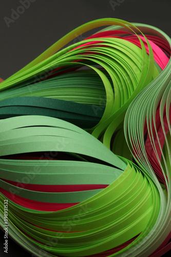 Fotografia Green color strip wave paper