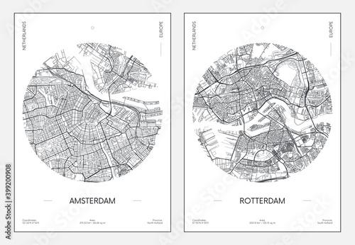 Naklejki na meble miejski plan ulic miasta Amsterdam i Rotterdam,