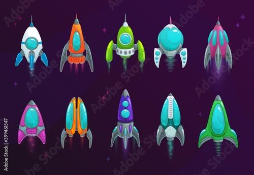 Fotografia Cartoon space rockets vector space ships icons
