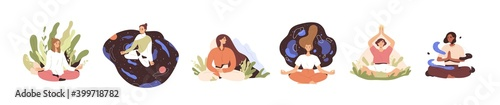 Set of tranquil women with closed eyes and croosed legs meditating in yoga lotus posture. Meditation practice. Concept of zen and harmony. Colored flat vector illustration isolated on white background