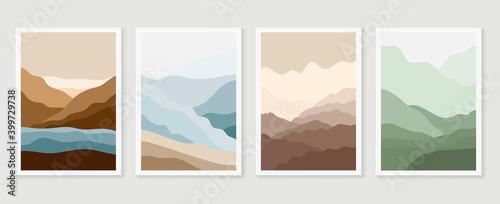 Fotografija Mountain wall art vector set