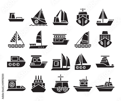 Canvas Print various types of ship; cruise, speedboat, cargo ship, barge, tugboat, galleon, f