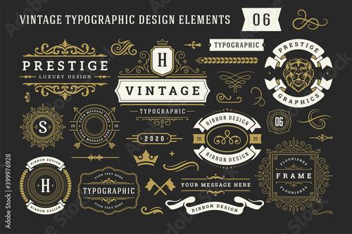 Wallpaper Mural Vintage typographic decorative ornament design elements set vector illustration