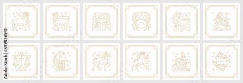 Photo Zodiac astrology horoscope signs linear design vector illustrations set