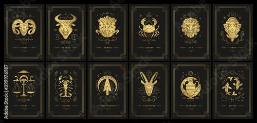 Leinwand Poster Zodiac astrology horoscope cards linocut silhouettes design vector illustrations