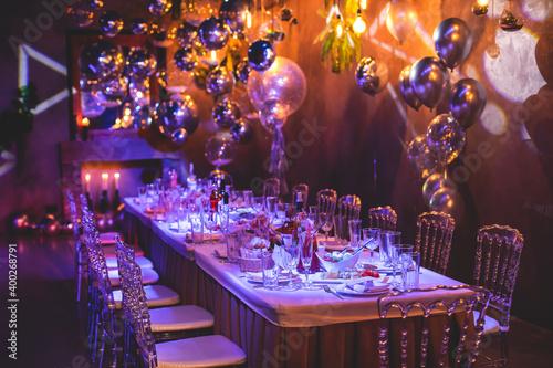 Fotografiet Decoration interior elements of restaurant venue banquet hall with multicoloured