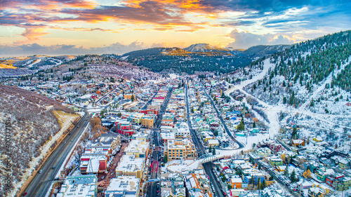 Fotografie, Obraz Downtown Park City, Utah, USA Skyline Aerial Panorama
