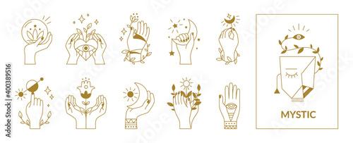 Fotografia Hands mystical symbols