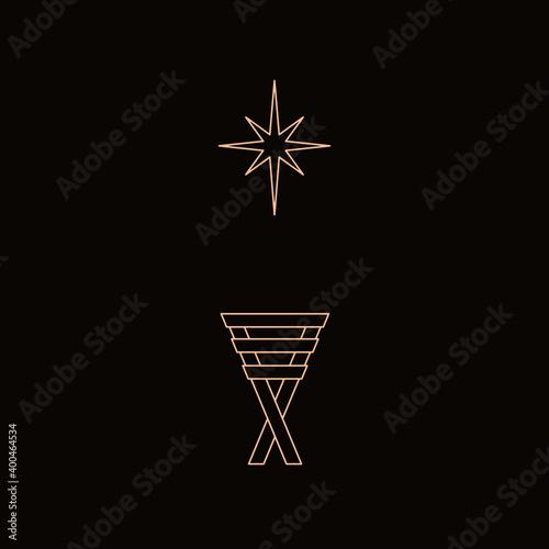 Photo Geometric line drawing of manger and star of Bethlehem, symbolizing the birth of Christ