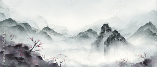 Ink landscape painting in winter.Eastern traditional painting