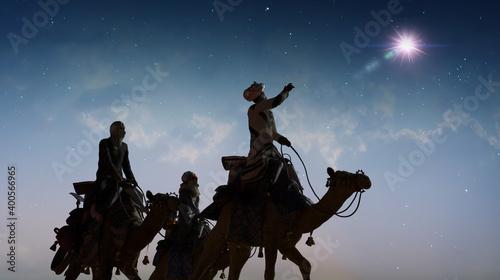 Obraz na płótnie Christian Christmas scene with the three wise men and shining star, 3d render