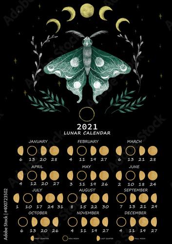 Lunar calendar 2021 Fototapeta
