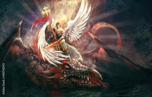 Canvas Saint Archangel Michael killing dragon