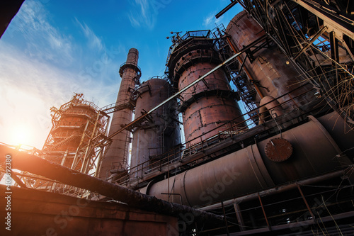 Fotografia Blast furnace equipment of the metallurgical plant