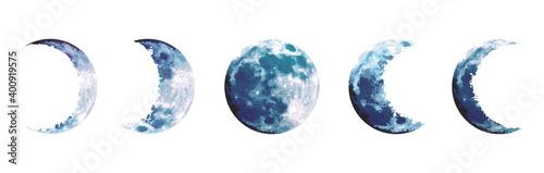 Fényképezés Magic blue moon phases vector design set