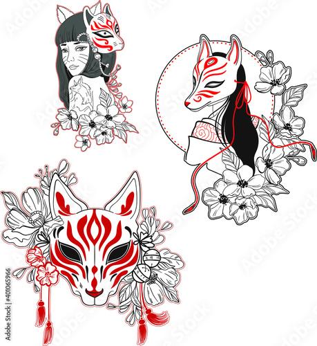 Valokuvatapetti Vector japanese style illustration