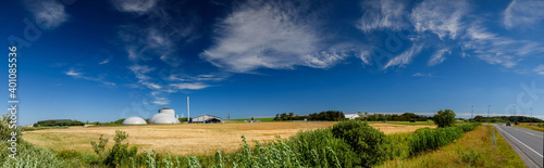 Obraz na plátně Panorama view of countryside in North Jutland with biogas plant, Denmark