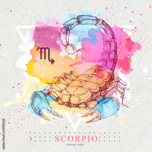 Fototapeta Modern magic witchcraft card with astrology Scorpio zodiac sign on artistic watercolor background
