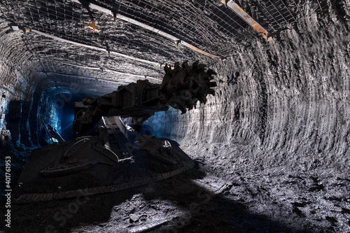 Valokuva Shearer drill head in a coal mine