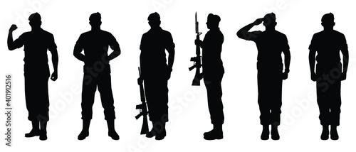 Fotografie, Obraz Set of soldier silhouette vector, military man concept.