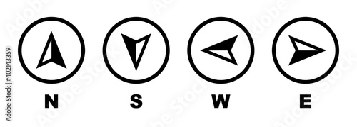 Fotografie, Obraz Vector compass icons of north, south, east and west direction