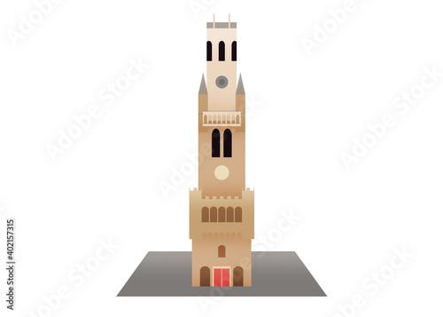 Leinwand Poster A medieval bell tower in Bruges Belgium, Belfry of Bruges
