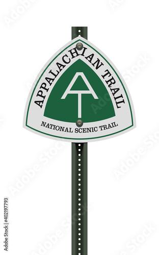 Vector illustration of the Appalachian Trail road sign on metallic post Tapéta, Fotótapéta