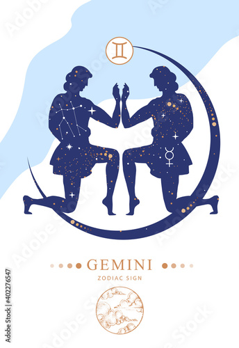 Fototapeta Modern magic witchcraft card with astrology Gemini zodiac sign