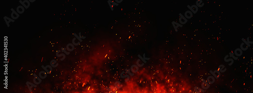 Fotografie, Obraz Fire embers particles over black background