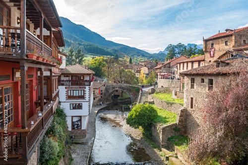 views of potes mountain town in the heart of picos de europa, Spain