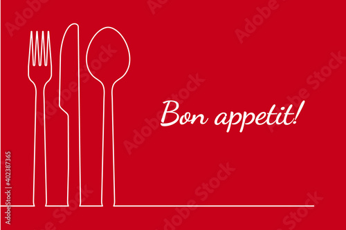 Obraz na plátně Fork spoon knife restaurant menu line design for dinner, lunch or breakfast card cover
