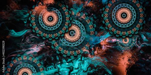 Fototapeta mandala colorful dark eyes vintage art, ancient Indian vedic background design,s