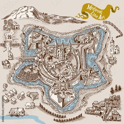 Obraz na płótnie Medieval map elements engraving and woodcut style vector cartography illustratio