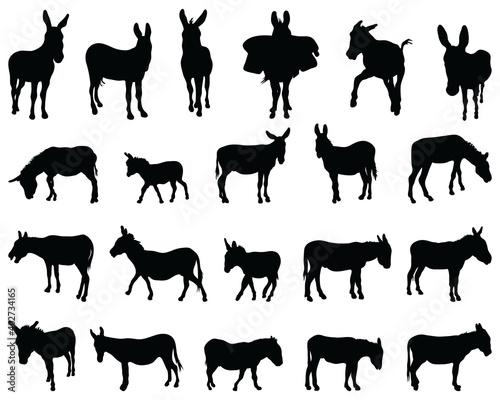 Slika na platnu Black silhouettes of donkeys on white background