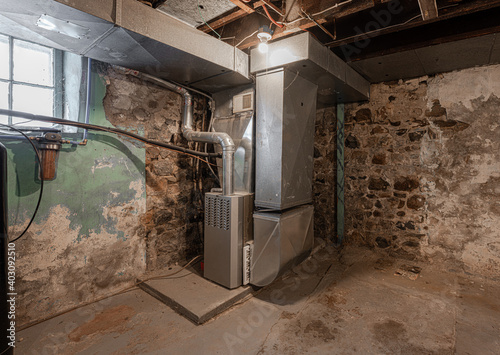 Canvas Print furnace system has been repaired in a very old home