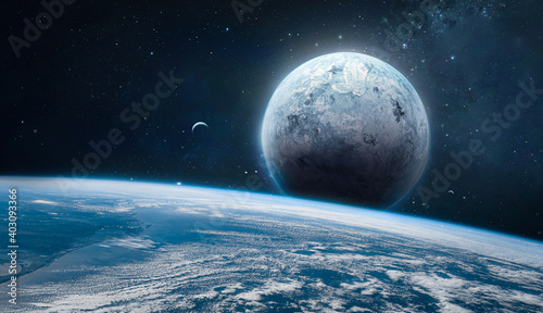 Fotografija Earth and other planets with atmosphere in deep space