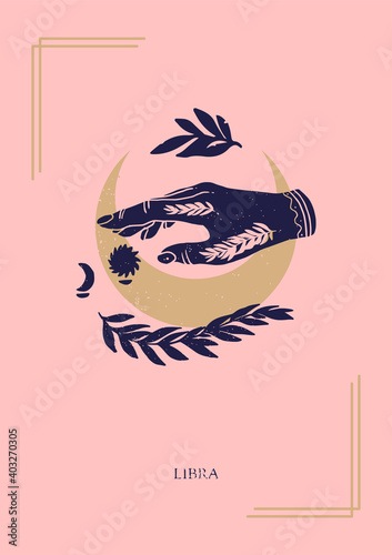 Fototapeta Zodiac sign Libra in boho style on the pink background