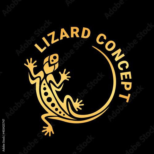 Photo Gold gecko lizard logo graphic design concept