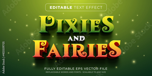 Editable text effect in fairy tales story style