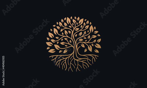 Photo Natural Vector Tree Logo Illustration Nature Tree Golden Roots and Growth Design