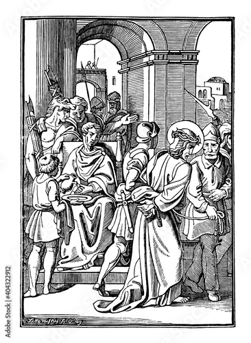 Fotografie, Obraz 1th or First Station of the Cross or Way of the Cross or Via Crucis