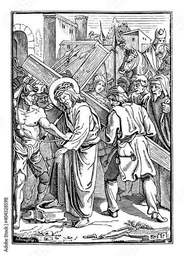 Obraz na płótnie 5th or fifth Station of the Cross or Way of the Cross or Via Crucis