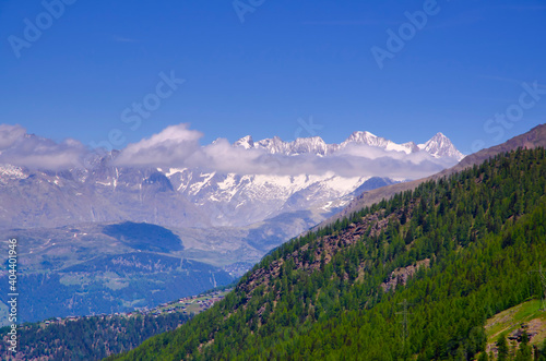 Scenic View Of Mountains Against Blue Sky Fototapeta