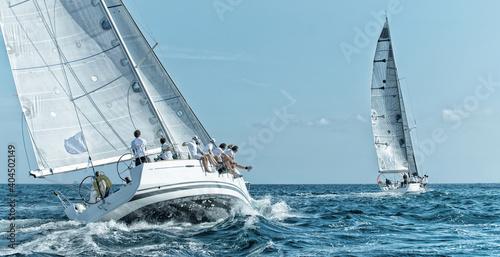 Leinwand Poster Sailing yacht regatta. Yachting. Sailing