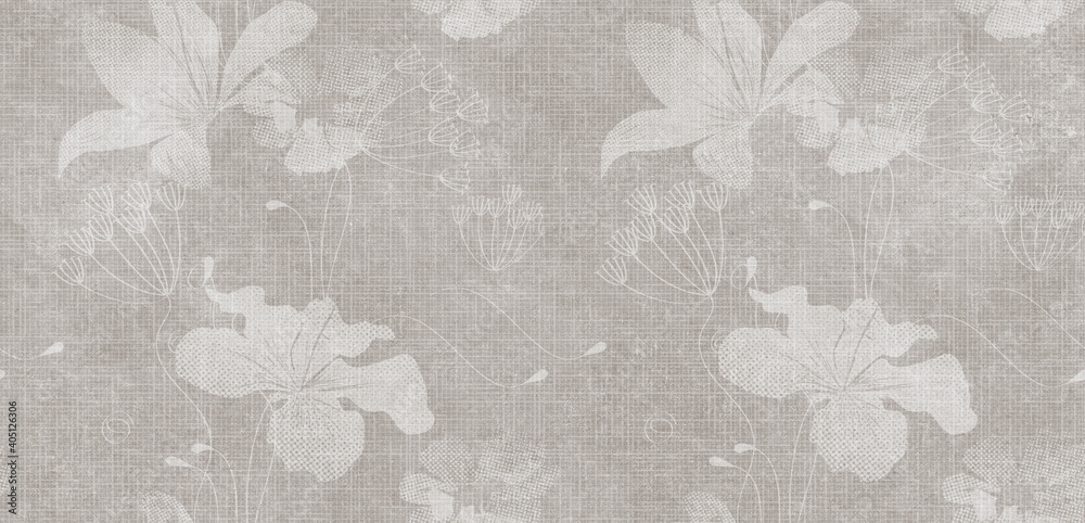 Flowers on the old white wall background, digital wall tiles or wallpaper design
