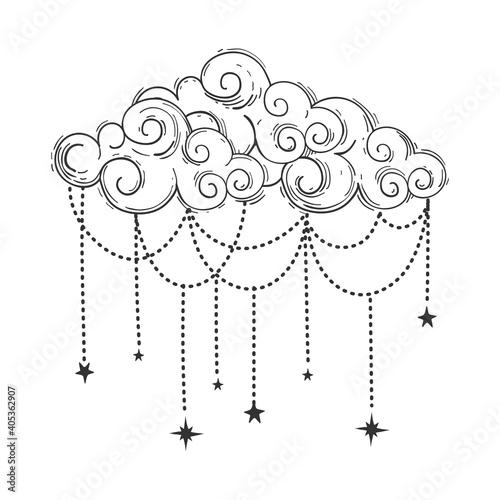 Wallpaper Mural Beautiful cloud in bohemian style, linear hand drawn illustration