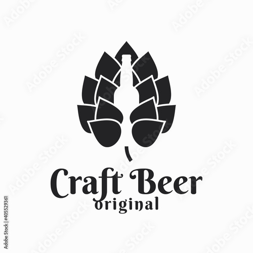 Fototapeta Beer hop and beer bottle. Craft beer logo on white